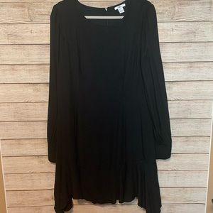 Bar III Black Long Sleeve Dress With Ruffle Hem